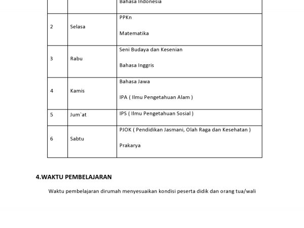 JADWAL PEMBELAJARAN JARAK JAUH TP. 2020/2021